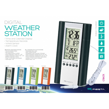 DIGITAL WEATHER STATION LCD WIRED BK