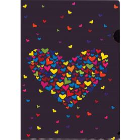 CARTELLA A4 TRASPARENTE HEARTS