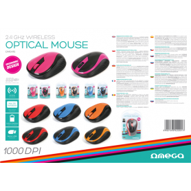 MOUSE OMEGA WIRELESS 2.4GHZ 1000PDI BLU