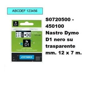 DYMO NASTRO D1 12MMX7M NERO TRASP.