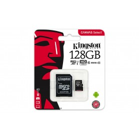KINGSTON CANVAS MEM CARD MICROSD 128 GB