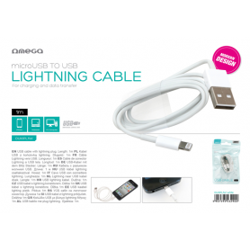 OMEGA USB LIGHTNING CABLE 1M WHITE