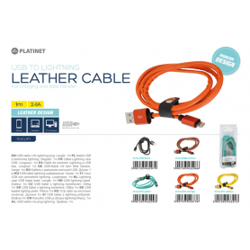 MICRO USB LEATHER CABLE 1MT NERO 2.4A