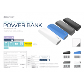 PLATINET POWERBANK LEATHER 7200MAH GREY