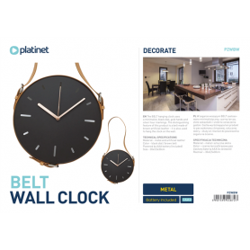 PLATINET WALL CLOCK CLACK WHIT PU LEATHE
