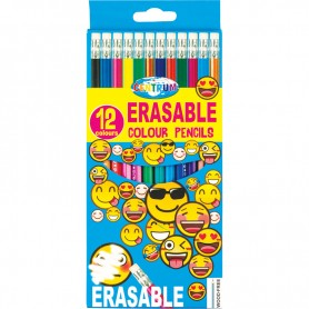 COLOUR PENCILS PLASTIC ERASABLE 12 COL.