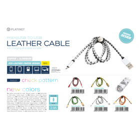 MICRO USB LEATHER CABLE 1MT  GIALLO 2.4A