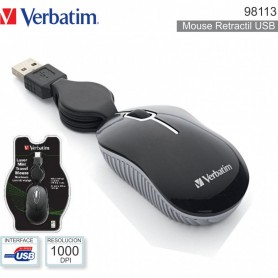 VERBATIM MOUSE MINI TRAVEL RETRACT. NERO